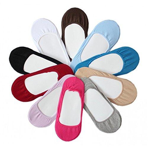 12-Set-Damen-Flinge-Ballerina-Socken-Bunt-Gemischt-schwarz-beige-wei-blau-rosa-rot