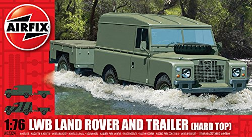 Airfix A02324 1:76 Scale LWB Land Rover (Hard Top) and Trailer Military Vehicles Classic Kit Series 2