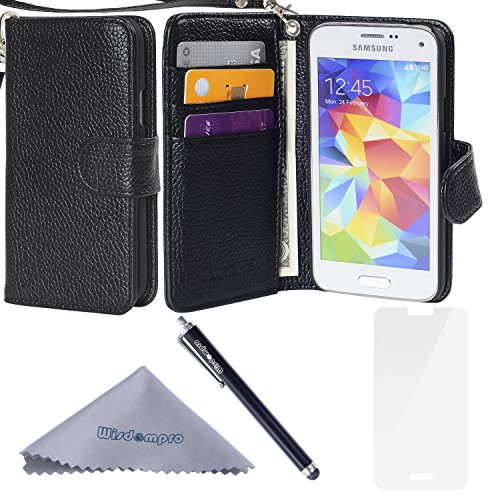 S5 Mini Case, Wisdompro Premium PU Leather Protective [Folio Flip Wallet] Case with Credit Card Holder/Slots and Wrist Lanyard for Samsung Galaxy S5 Mini G800F G800H G800H/DS (NOT Fit S5)- Black (Samsung Galaxy 5 Mini Case compare prices)