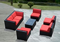 Big Sale ohana collection PN0703red Genuine Ohana Outdoor Patio Wicker Furniture 7-Piece All Weather Gorgeous Couch Set with Free Patio Cover