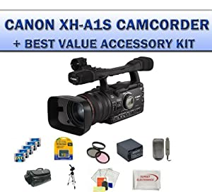 Canon XH-A1S 3CCD HDV High Definition Professional Camcorder with 20x HD Video Zoom Lens With 20 Piece Best Value Accessory Kit