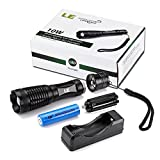 LE 1000lm Rechargeable LED Flashlight XM-L2 T6 , Portable, Zoomable, 5 Light Modes, 10W, 18650 Battery and Charger Included, Water Resistant Camping Torch, LED Tactical Handheld Flashlight
