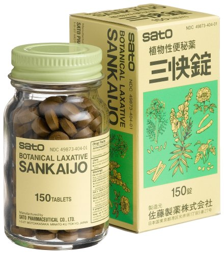Sato Sankaijo Botanical Laxative, 150 Tablets, Boxes (Pack of 4)