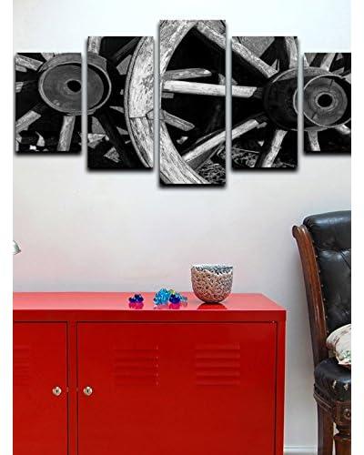 Homemania  Set Pannello Decorativo 5 pezzi Canvas Nero