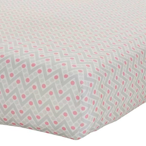 Safe Sleep Pink & Grey Chevron Fitted Sheet front-760985