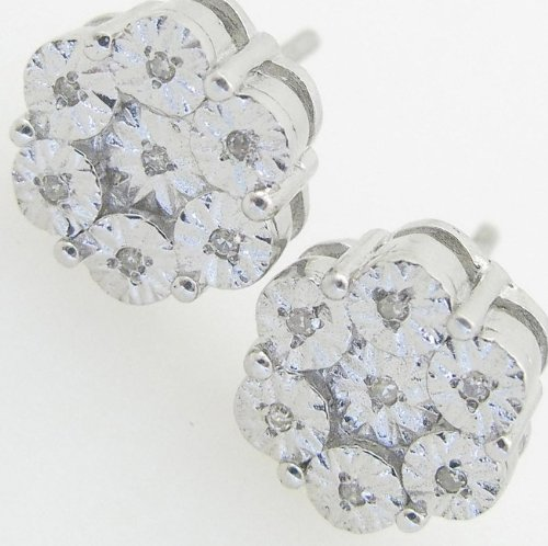 Mens 925 Sterling Silver earrings fancy stud hoops huggie ball fashion dangle white small cluster pave earrings2