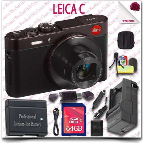 Leica C Cmos Wifi Nfc Digital Camera (Red 18489) + 64Gb Sdhc Class 10 Card + Hdmi Cable + Soft Camera Case + 12Pc Leica Saver Bundle