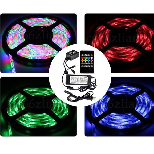 Dreamy Lighting 5050 Smd 16.4Ft 5 Meter 300Leds Rgb Flexible Waterproof Strip Lighting With 20Keys Music Sound Controller Infrared Remote And Power Adapter