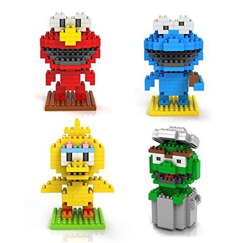 Pack of 4 LOZ Nanoblock Sesame Street Collection Total 640pcs