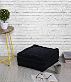 Store Indya Hand Woven Floor Cushion Out of Velvet & Stuffed with Soft Cotton - Black