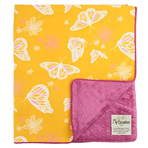 "My Blankee Butterfly Organic Cotton Yellow w/ Minky Dot Fuchsia Baby Blanket, 30"" X 35"""