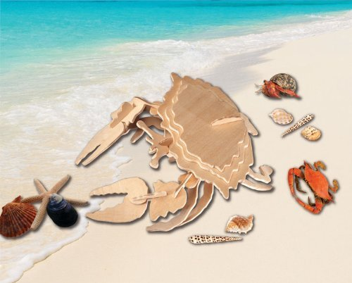 Puzzled Common Shore Crab 3D Natural Wood Puzzle - 1
