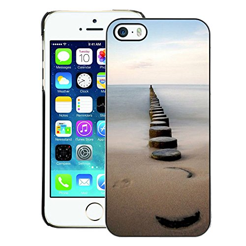 A-type Colorful Printed Hard Protective Back Case Cover Shell Skin for iPhone 5 / 5S (Sea Pier Dock Sand Ocean Horizon)