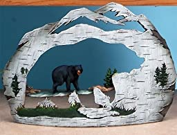 10 Inch Traveling Black Bear in Water Carved Scene Display by UG