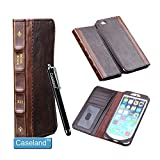 Iphone 6 Plus Case, By Caseland Book Case Vintage for Iphone 6 Plus 5.5 Inch- Classic Crazy Horse Pattern PU Leather Protective Book style Flip Folio Stand Case Cover