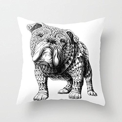 English Bulldog fashion design pillow case 18''x18'' (English Bulldog Throw Pillows compare prices)