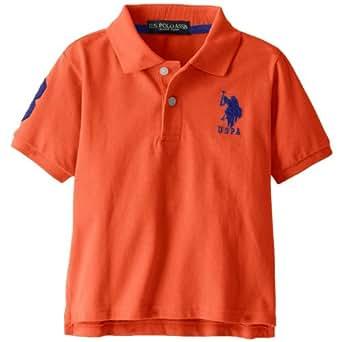 US Polo Association Little Boys' Pique Polo (4T, Orange)