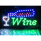Wine Sign, LED Neon Motion Light Sign. On/off with Chain 19*10*1