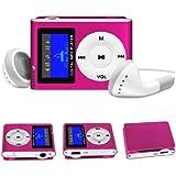 Stuff4® Hot Pink Mini 8GB MP3 Player With LCD Display, FM Radio, 3.5mm Jack Input + Mini USB Charging Cable + Headphones