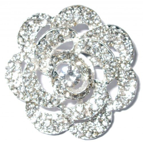 Rose A Fashion Brooch Broach Pin Badge Crystal Diamante Wedding Bridal