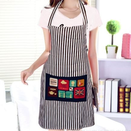 FASHION ALICE Stripe Apron, Cotton Cute Unisex Kitchen Flirty Women's Aprons with Teapot Telephone Booth Icon Design Pockets for Christmas Present, Machine Washable, Cooking or Baking Apron(Black) (Teapot Apron compare prices)