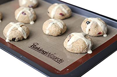 Silicone Baking Mat - Non Stick Bakeware - 2 Piece Set - Best for Cookies, Pretzels, Pizzas and More - Large Enough for Almost Any Cooking or Pastry Need - Perfect Fit for Half Size Baking Sheet
