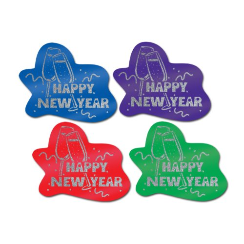 Glittered Happy New Year Signs (asstd colors) Party Accessory  (1 count)