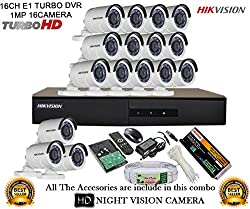 HIKVISION 16CH-DS-7216HGHI-E1-Turbo-HD-720P-DVR + HIKVISION DS-2CE16COT-IR TURBO BULLET CAMERA 16pcs +1TB HDD + CABLE 3+1 COPPER + POWER SUPPLY (FULL COMBO)