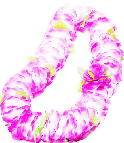 Forum Novelties Deluxe Color Dipped Purple White Silk Flower Hawaiian Lei