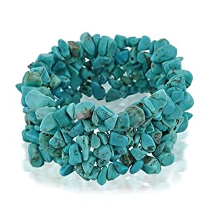Bling Jewelry Genuine Turquoise Gemstone Chips Chunky Stretch Bracelet
