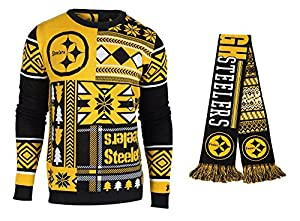Pittsburgh Steelers NFL Football Reversible Ugly Scarf & Patches Series Ugly Sweater Gift Set at Steeler Mania