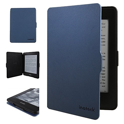 Inateck Kindle Paperwhite and NEW Kindle Paperwhite (2015) for Microfibril PU leather case with magnetic blue