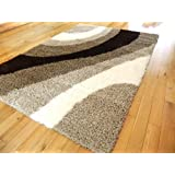 SMALL LARGE CREAM BEIGE BROWN THICK 5CM SHAG PILE RUG SOFT LUXURIOUS HALL RUNNERS NON SHED MATS RUGS (160 X 225...