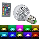 LINLIN E27 Standard Screw Base RGB Multicolored LED Light 16 Colors+ 24Key Remote Control Changing Dimmable Lamp with IR Remote Control Mood Ambiance Lighting (15 Watts)