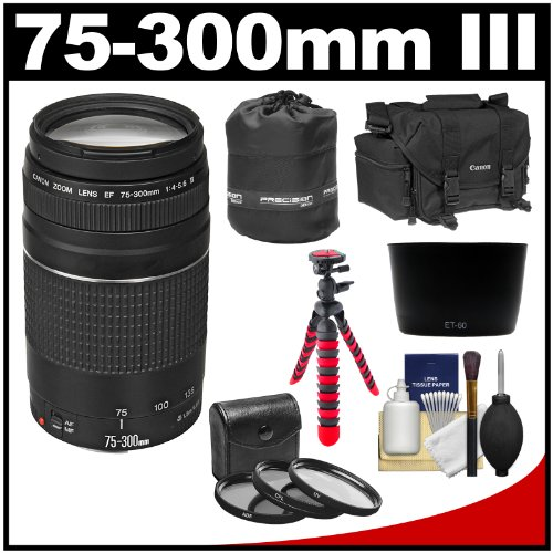 Canon Ef 75-300Mm F/4-5.6 Iii Zoom Lens With Case + Flex Tripod + 3 Uv/Cpl/Nd8 Filters + Hood Kit For Eos 5D Mark Ii Iii, 6D, 7D, 70D, Rebel T3, T3I, T5, T5I, Sl1 Cameras