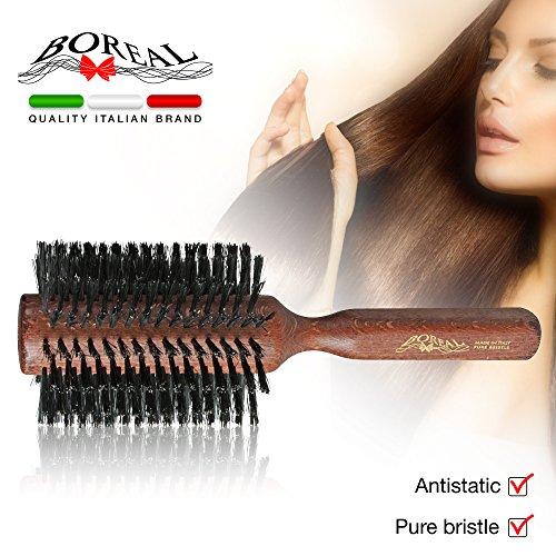 Spazzola capelli antistatica. Rullo gigante in legno e pura setola diametro 76 mm. 100% made in Italy.