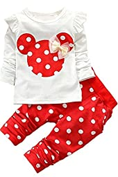 2016 Kids Clothes Girls Baby Long Sleeve Shirt Pants Outfits Clothing Set(Red,2T)
