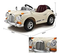 Happy Kids Classic Vintage Ride-On Car with Remote Control (Beige)