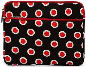[Glove] RED & BROWN POLKADOTS | Universal 10-inch Tablet Case / Soft Sleeve for 10.1 Lenovo IdeaPad. Bonus Ekatomi Screen Cleaner