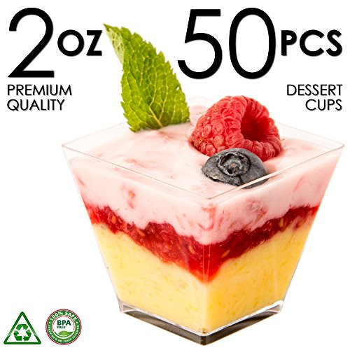 Dessert Cups Mini Cubes Clear Tasting Sample Glass Containers Elegant Square Plastic Bowls Disposable for Appetizers Shooters Chocolate Parfait Jello Shot & Catering Supplies Small Square 2oz 50ct Square Footed Cake