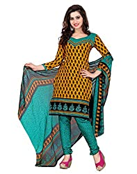 Yehii Women's Cotton Orange Paisley dress material Unstitched Salwar Kameez Dupatta for women party wear low price Below Sale Offer