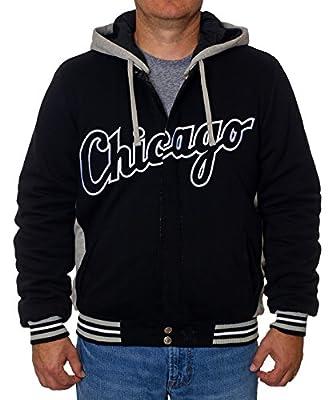 Chicago White Sox Reversible Fleece Nylon Hooded Jacket Black