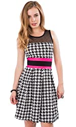 Hidden Fashion Womens Ladies Dog Tooth Print Cut Out Mesh Insert Skater Dresses by HIDDENFASHION
