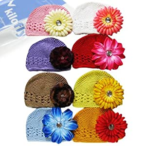 Amazon.com: KF Baby Soft Crochet Beanie Hat with Flower Clip, Set of 8