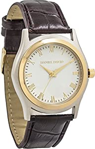 Daniel David Men | Classic Textured Brown Leather Watch | DD13801