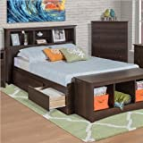 Platform Storage Bed w/ Bookcase Headboard Espresso/Queen