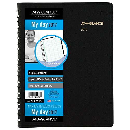 AT-A-GLANCE Daily Appointment Book / Planner 2017, 4 Person, Group Planner, 8 x 10-7/8