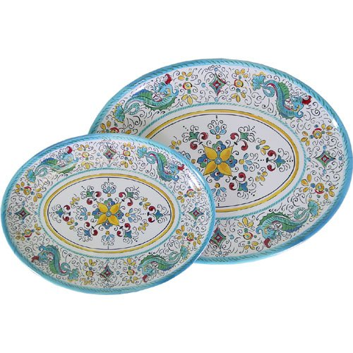 Set of Le Cadeaux Triple Weight Melamine 12 Inch + 16 Inch Oval Serving Platter, Aqua Blue Dragons