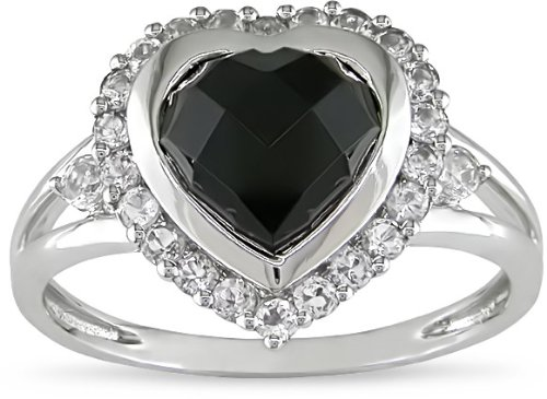 10K White 2-1/10ct TGW Onyx and White Topaz Heart Ring