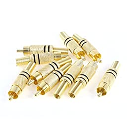 Audio Video RCA Male Spring Connector Adapter Black Gold Tone 10 Pcs